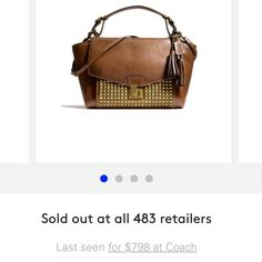 Authentic Coach Leather Gold Studded Bag Beautiful Brown Legacy Archival Lock Satchel in Studded Leather. Purchased from Coach store a little over a year ago. Sold out at retailers! Paid $798. Authentic Coach. Minimal exterior leather wear- no stains inside or out. Very expensive bag! Shoulder strap and duster included. Just looking for something new! :) Coach Bags Shoulder Bags