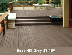 Behr Semi-Transparent Wood Stain in Boot Hill Grey Deck Stain Colors, Deck Makeover, Deck Over, Staining Deck, House Exterior, Decks And Porches, Porch Makeover, Outdoor Wood, Deck Paint Colors