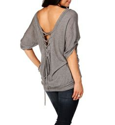 Pre-Order H. Gray Lace Up Back Top