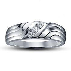 Three Stone Simulated Diamond  Channel Set Men's Band Ring 14K White Gold Finish…