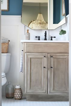 How-to Paint the Pottery Barn Seadrift Finish Love the Pottery Barn seadrift finish in the Sausalito collection? How to create the same finish with paint! Paint furniture or cabinets with a beautiful driftwood gray. Faux Wood Paint, Faux Paint Finishes, Furniture Makeover, Diy Furniture, Furniture Doctor, White Furniture, Painted Driftwood, Driftwood Crafts, Painted Vanity