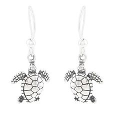@Overstock - Each of these fine earrings from Silvermoon features a detailed sea turtle design with an antiqued finish. The earrings are crafted of sterling silver and secure with hook clasps.http://www.overstock.com/Jewelry-Watches/Silvermoon-Sterling-Silver-Sea-Turtle-Earrings/6078074/product.html?CID=214117 $20.99