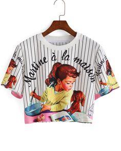 Vertical Striped Girl Print Crop T-shirt -SheIn(Sheinside)