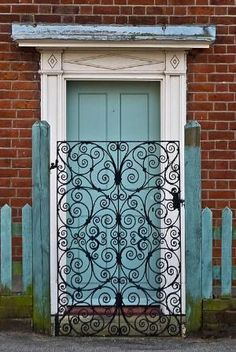 Cooper's Forge did a garden gate very similar to this a few years ago, but with copper accents. Entrance Doors, Doorway, When One Door Closes, Wrought Iron Doors, Cool Doors, Door Gate, Garden Gates, Closed Doors, Stairways