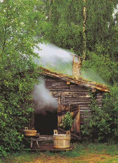 "a ""savusauna"" -- a smoke sauna. Smoke saunas have experienced great revival in recent years since they are considered superior by the connoisseurs. They are not, however, likely to replace all or even most of the regular saunas because more skill, effort Saunas, Sauna Health Benefits, Finnish Sauna, Swedish Sauna, Cabin In The Woods, Cabins And Cottages, Log Cabins, Log Homes, Country Life"