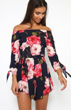 Blooming Rose Playsuit - Navy Floral from peppermayo.com