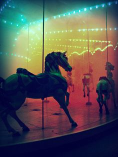 Fright Night @ the Kennywood Carousel. They played the carousel music backwards <==Frolicking horses can disguise the work of the darkest souls.