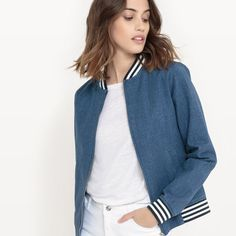 Bomber Regular Size Coats & Jackets for Women Blouson Denim, Denim Bomber Jacket, Bold Jewelry, Form, Zip Ups, Style Me, Jackets For Women, Mini Skirts, Black Leather