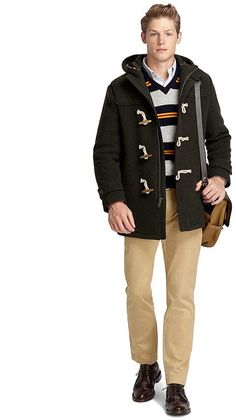 $598, Dark Green Duffle Coat: Brooks Brothers Toggle Coat. Sold by Brooks Brothers. Click for more info: http://lookastic.com/men/shop_items/75961/redirect