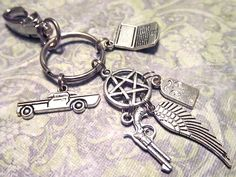 SUPERNATURAL Sam, Dean & Castiel Keychain with SIX Charms - Custom Orders Welcome