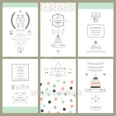Retro collection of wedding invitations. Wedding, marriage, bridal. Isolated. Vector