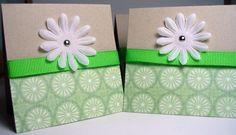 Handmade Mini Thank You Cards, Flower, Set of 4 #springtime #spring #easter #stpatricksday #green #whiteflower