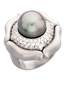 The perfect ring for a June Birthday. DH Tahitian Pearl and Diamond ring in 18K White Gold.