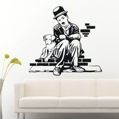 Find More Wall Stickers Information about Art Decor chaplin and Dog Life wall stickers Vinyl Movie star decal house…