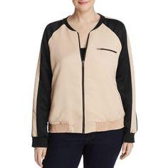 Junarose Mista Color Block Bomber Jacket ($115) ❤ liked on Polyvore featuring plus size women's fashion, plus size clothing, plus size outerwear, plus size jackets, moonlight, pink jacket, flight jacket, blouson jacket, satin bomber jacket and colorblock bomber jacket