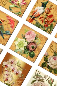 Digital Collage Sheet Vintage Flowers 1x1 inch size Square for