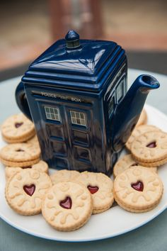 TARDIS tea and jammie dodgers. I love jammie dodgers time to go to the market and get some...