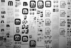 Minnesota Zoo logo sketches / The Minnesota Zoo logo combines an 'M' with a Minnesota moose. It was part of the zoo's wayfinding system of typography, symbols, and signs, cited in the design section of TIME magazine as one of the best of 1981.