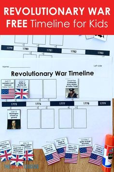 Revolutionary War Timeline for Kids: Free from The Clever Teacher - This FREE Revolutionary War timeline makes a fun addition to any Revolutionary War history projects - 4th Grade Social Studies, Social Studies Classroom, Social Studies Activities, History Activities, History Classroom, Teaching Social Studies, Interactive Activities, Interactive Notebooks, American Revolution Timeline