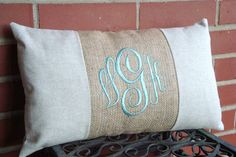 Lumbar Pillow Cover. Monogram Pillow. Burlap Pillow. Pillow Cover. Shabby Chic Pillow. Cottage Chic Pillow