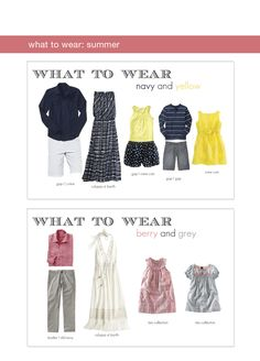 Lots of examples of sibling and family photos (colors)- plus some comments on what to wear