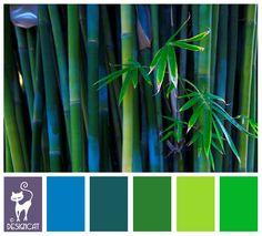 Bamboo 3: Purple, Blue, Green, Teal, Leaf, Lime - Designcat Colour Inspiration Pallet