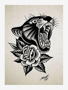 Black Book by Samuele Briganti Traditional Tattoo Black And White, Traditional Panther Tattoo, Traditional Tattoo Old School, Traditional Tattoo Design, Traditional Tattoo Flash Art, Traditional Heart Tattoos, Traditional Tattoo Sketches, Traditional Tattoo Inspiration, Traditional Tattoo Woman