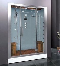 His and Hers steam shower with chroma therapy and aroma therapy.  EAGO Platinum DZ972F8 Steam Shower Enclosures, Ariel Platinum DZ972F8