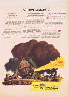 1944 Marine Combat Soldier Original Advertisement by Nash Kelvinator Very Nice Vintage Art Drawing