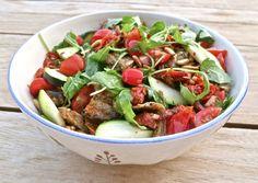 Vegan roasted aubergine (eggplant), sun-dried tomato and pine nut salad: dairy free, gluten free