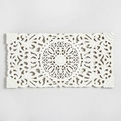 Possibility of above bed Ivory Wood Floral Wall Panel - Bedroom Wall Decor Above Bed, Bed Wall, Wall Décor, Above Headboard Decor, Headboard Designs, Wood Wall Decor, Modern Wall Decor, Carved Wood Wall Art, Art Mural Floral