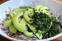 Add the avocado slices, chopped cilantro, lime juice, olive oil, and salt. Thai Cucumber Salad, Cooking Recipes, Healthy Recipes, Healthy Food, Cilantro, Ripe Avocado, Side Salad, Stuffed Hot Peppers, Lime Juice