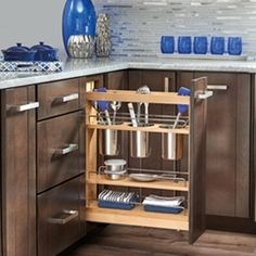Rev-A-Shelf Series Kitchen Utensil Pull Out Cabinet Organizer with Shelves and Soft-Close Slides for Kitchen Base Cabinets Kitchen Cabinet Organization, Kitchen Storage, Kitchen Decor, Cabinet Organizers, Kitchen Ideas, Cabinet Ideas, Storage Organization, Kitchen Design, Stainless Steel Bins