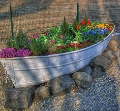 Old boat and some flowers -- how pretty