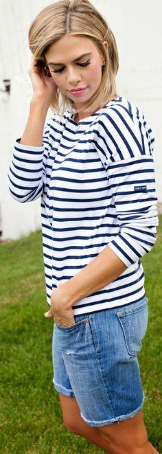 Loft Blue Denim Rolled Cuff Bermuda Shorts