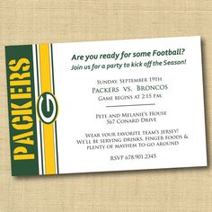 Green Bay Packers Football Party Invitation  by DovetailDesigns