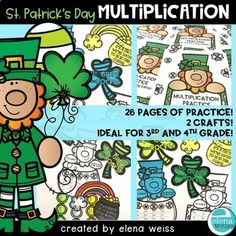 26 pages of straight forward multiplication fact practice, plus some fun crafts! That's what you'll get with this St. Patrick's Day Multiplication Resource! My kids complete 2 pages a day for morning work. It's quick, simple, fun, reinforcement for most, and critical practice for Multiplication Facts Practice, English Today, Morning Work, Cover Pages, Some Fun, Fun Crafts, Teacher, Simple, Kids