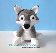 Crochet Grey Wolf Stuffed Wolf Wolf Plush Woodland by AdrialysHC