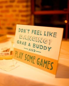 I love this. I love the idea of doing something fun like games at a wedding instead of dancing. I like the idea of have a fun unique wedding that reflects the couple.