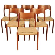 Set of Six Niels Otto Møller Model 71 Dining Chairs | From a unique collection of antique and modern dining room chairs at https://www.1stdibs.com/furniture/seating/dining-room-chairs/