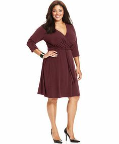 a8c43561438 AGB Plus Size Three-Quarter-Sleeve Belted Faux-Wrap Dress Faux Wrap Dress