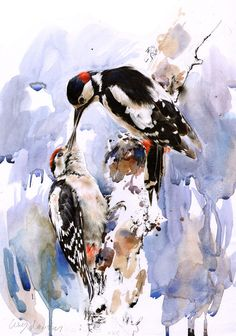 "Saatchi Online Artist: Lucy Newton; Paint, Mixed Media ""Great Spotted Woodpeckers"""