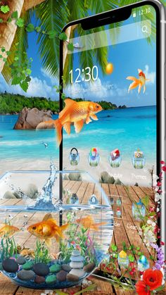 Fish bowl aquarium with a beach look for your phone. Beach Look, Live Wallpapers, Goldfish, Future House, Aquarium, Cool Style, Phone, Design, Goldfish Bowl