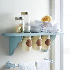 Under Shelf Mason Jar Storage - use for cotton balls and such in bathroom!