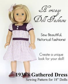 "1930'S GATHERED DRESS 18"" DOLL CLOTHES"