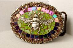 Mosaic Belt Buckle  Bee on Lime Stained Glass with by camillaklein, $85.00