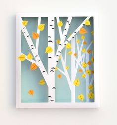 DIY Birch Shadow Box fall diy crafts diy crafts do it yourself fall crafts birch fall projects fall decorating ideas fall craft projects shadow box