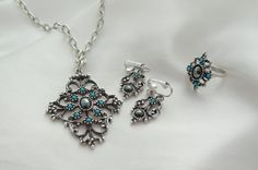 Avon Mirabella Necklace Earrings Ring Hematite by Ladysfancys, $44.99