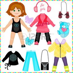 paper doll for girls: Paper doll with a set of clothes. Cute fashion girl. Template for cutting.