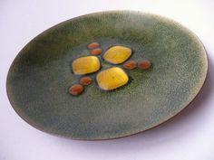 Mid Century Copper Enamel Plate by Annemarie Davidson